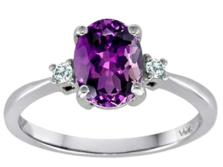 Tommaso Design 8x6mm Oval Genuine Amethyst Engagement Ring