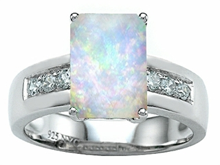 Star K Classic Octagon Emerald Cut 9x7 Ring With Simulated Opal