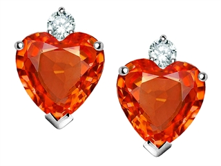 Star K Heart Shape Simulated Mexican Fire Opal Earrings