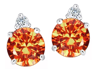 Star K Round 7mm Simulated Mexican Fire Opal Earrings Studs
