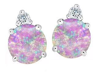 Star K Round 7mm Pink Created Opal and Cubic Zirconia Earrings Studs