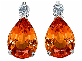 Star K Pear Shape 8x6 mm Simulated Mexican Fire Opal Earrings Studs