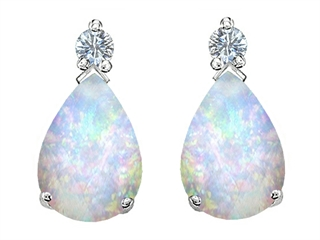 Star K Pear Shape 8x6 mm Created Opal Earrings Studs