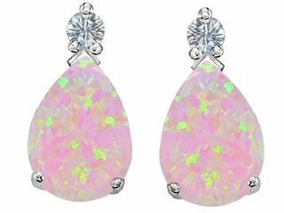 Star K Pear Shape 8x6 mm Pink Created Opal Earrings Studs