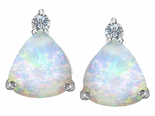 Star K 7mm Trillion Cut Created Opal Earrings Studs