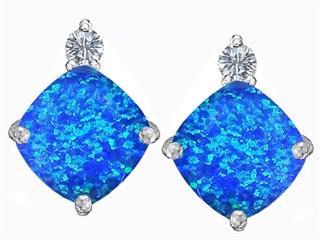 Star K 7mm Cushion Cut Blue Created Opal Earrings Studs