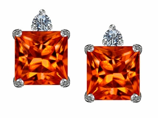 Star K 7mm Square Cut Simulated Mexican Orange Fire Opal Earrings Studs