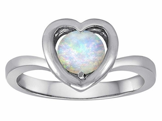 Star K Heart Promise of Love Ring with 7mm Round Simulated Opal