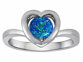 Star K Heart Promise of Love Ring with 7mm Round Simulated Blue Opal