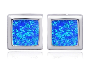 Star K 8mm Square Cut Blue Created Opal Earrings Studs