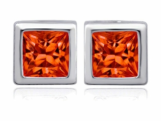 Star K 8mm Square Cut Simulated Mexican Orange Fire Opal Earrings Studs