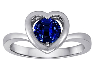 Star K Heart Promise of Love Ring with 7mm Round Created Sapphire