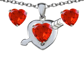 Star K Simulated Orange Mexican Fire Opal Heart with Arrow Pendant Necklace with matching earrings
