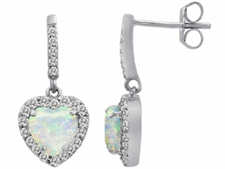 Star K 6mm Heart Shape Created Opal Hanging Halo Heart Earrings