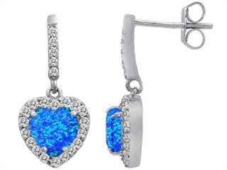 Star K 6mm Heart Shape Blue Created Opal Hanging Halo Heart Earrings