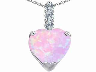 Star K Large 12mm Heart Shape Pink Created Opal and Cubic Zirconia Pendant Necklace