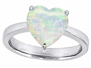 Star K Large 10mm Heart Shape Solitaire Simulated Opal Ring