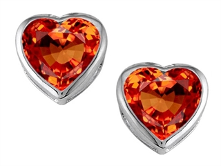 Star K 7mm Heart Shape Simulated Mexican Orange Fire Opal Heart Earrings Studs
