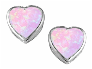 Star K 7mm Heart Shape Pink Created Opal Heart Earrings Studs