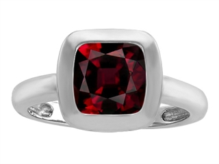 Original Star K 8mm Cushion Cut Solitaire Ring With Simulated Garnet