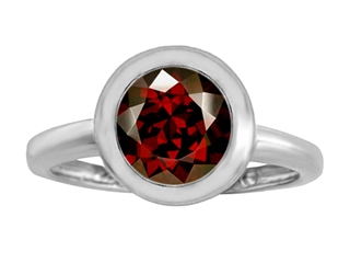 Star K 8mm Round Solitaire Ring With Simulated Garnet