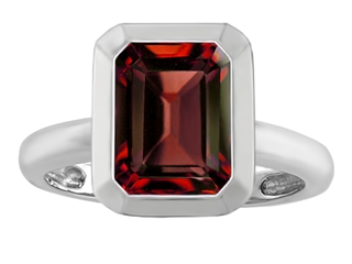 Star K 9x7mm Emerald Cut Octagon Solitaire Ring With Simulated Garnet