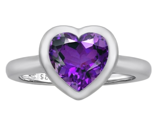 Star K 8mm Heart Shape Solitaire Ring With Simulated Amethyst