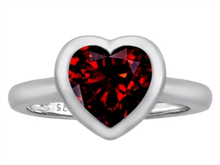 Star K 8mm Heart Shape Solitaire Ring With Simulated Garnet