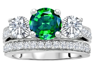 Star K™ 7mm Round Simulated Emerald Wedding Set thumbnail