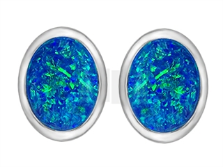 Star K 8x6mm Oval Blue Created Opal Earrings Studs