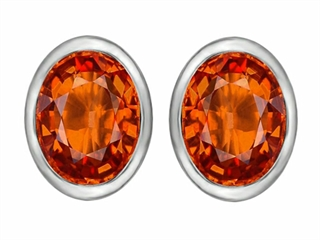 Star K 8x6mm Oval Simulated Mexican Orange Fire Opal Earrings Studs