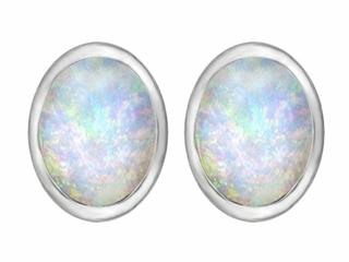 Star K 8x6mm Oval Created Opal Earrings Studs
