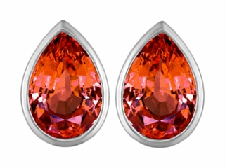 Star K 9x6mm Pear Shape Simulated Orange Mexican Fire Opal Earrings Studs