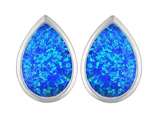 Star K 9x6mm Pear Shape Blue Created Opal Earrings Studs