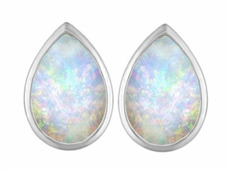 Star K 9x6mm Pear Shape Created Opal Earrings Studs