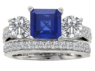 Original Star K™ 7mm Square Cut Created Sapphire Wedding Set thumbnail