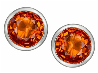 Star K 7mm Round Simulated Orange Mexican Fire Opal Earrings Studs