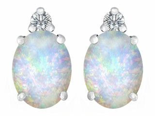 Star K 8x6mm Oval Created Opal Earrings Studs