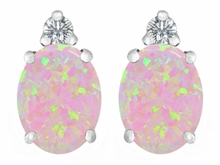 Star K 8x6mm Oval Pink Created Opal Earrings Studs