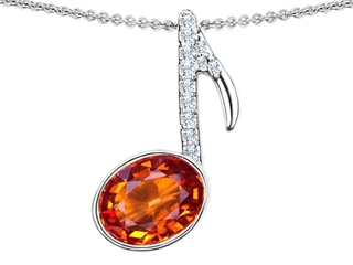 Star K Musical Note Pendant Necklace With Simulated Orange Mexican Fire Opal Oval 11x9mm