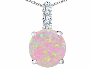 Star K Large 12mm Round Pink Created Opal Pendant Necklace