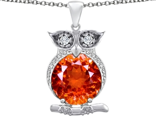 Star K Large 10mm Round Simulated Orange Mexican Fire Opal Good Luck Owl Pendant Necklace