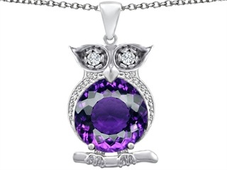 Star K Large 10mm Round Simulated Amethyst Good Luck Owl Pendant Necklace