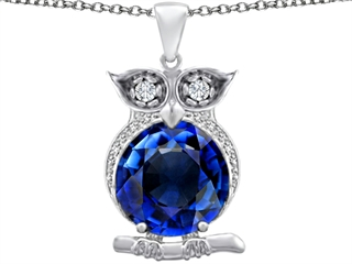 Star K Large 10mm Round Created Sapphire Good Luck Owl Pendant Necklace