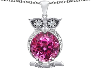 Star K Large 10mm Round Created Pink Sapphire Good luck Owl Pendant Necklace