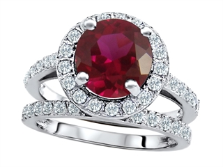 Star K™ 8mm Round Created Ruby Wedding Set thumbnail