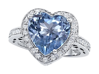 Star K Large 10mm Heart Shape Simulated Aquamarine Wedding Ring