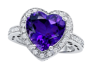 Original Star K Large 10mm Heart Shape Simulated Amethyst Engagement Wedding Ring