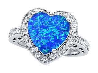 Star K Large 10mm Heart Shape Simulated Blue Opal Wedding Ring