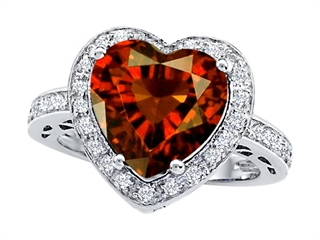 Star K Large 10mm Heart Shape Simulated Garnet Wedding Ring